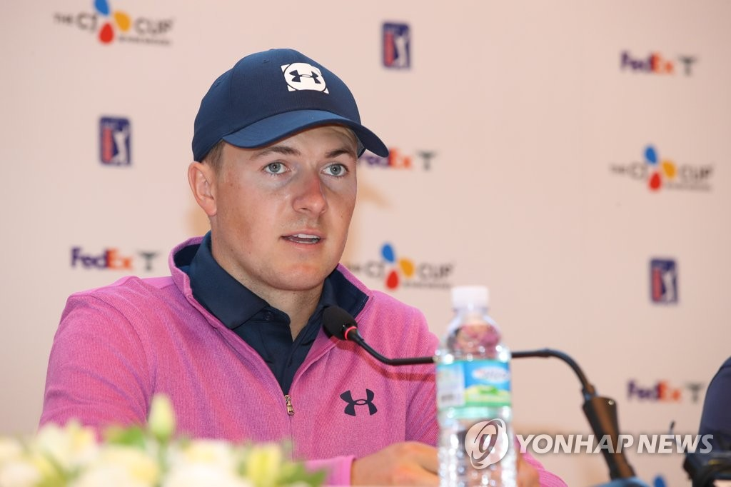 Jordan Spieth of the United States speaks at a press conference on Oct. 15, 2019, before the start of the CJ Cup @ Nine Bridges golf tournament at the Club at Nine Bridges in Seogwipo, Jeju Island. (Yonhap)