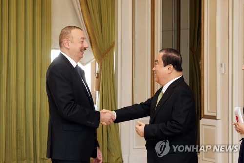 S. Korean speaker visits Azerbaijan president