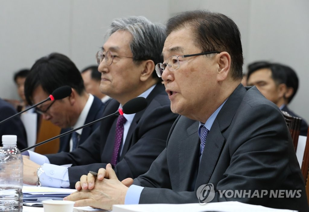 Chung Eui-yong (R), director of Cheong Wa Dae's national security office, in a file photo. (Yonhap)