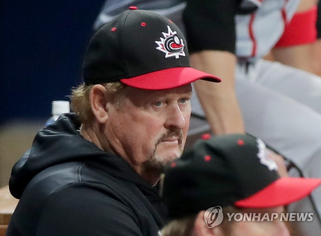Ernie Whitt, manager of Canada, looks on as his team plays Cuba in Group C action at the Premier12 at Gocheok Sky Dome in Seoul on Nov. 6, 2019. (Yonhap)