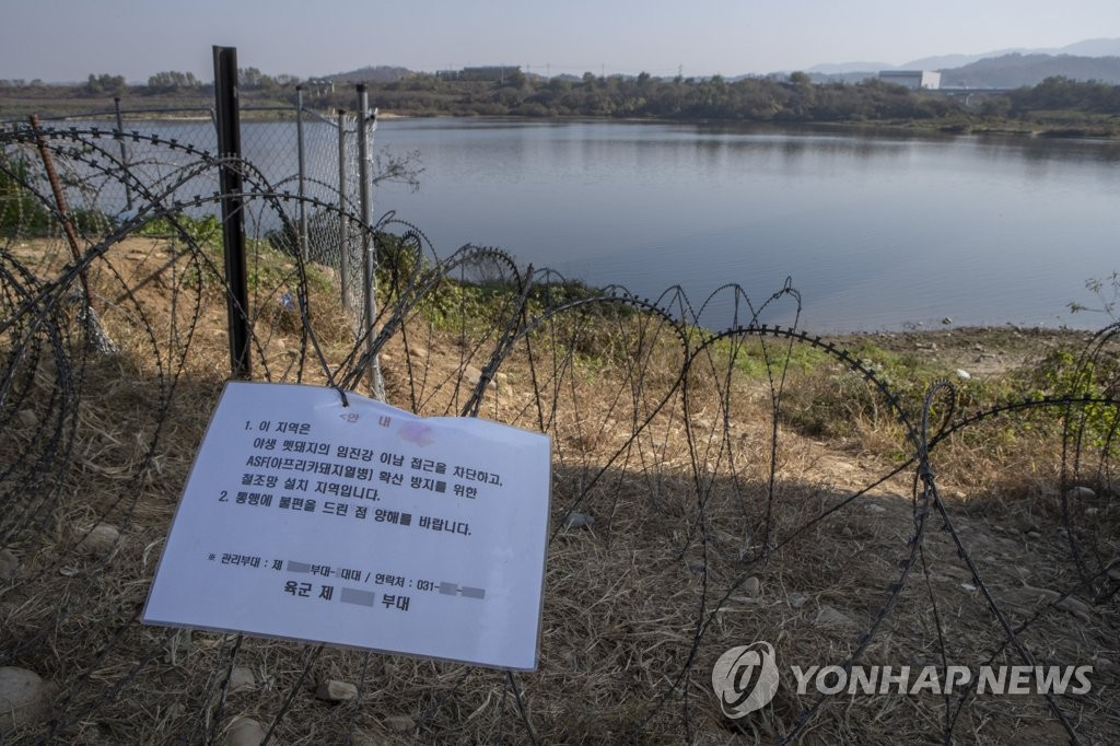 This file photo taken on Nov. 7, 2019, shows barbed-wire entanglements in Yeoncheon, Gyeonggi Province, to prevent spread of African swine fever through wild boars. (Yonhap)