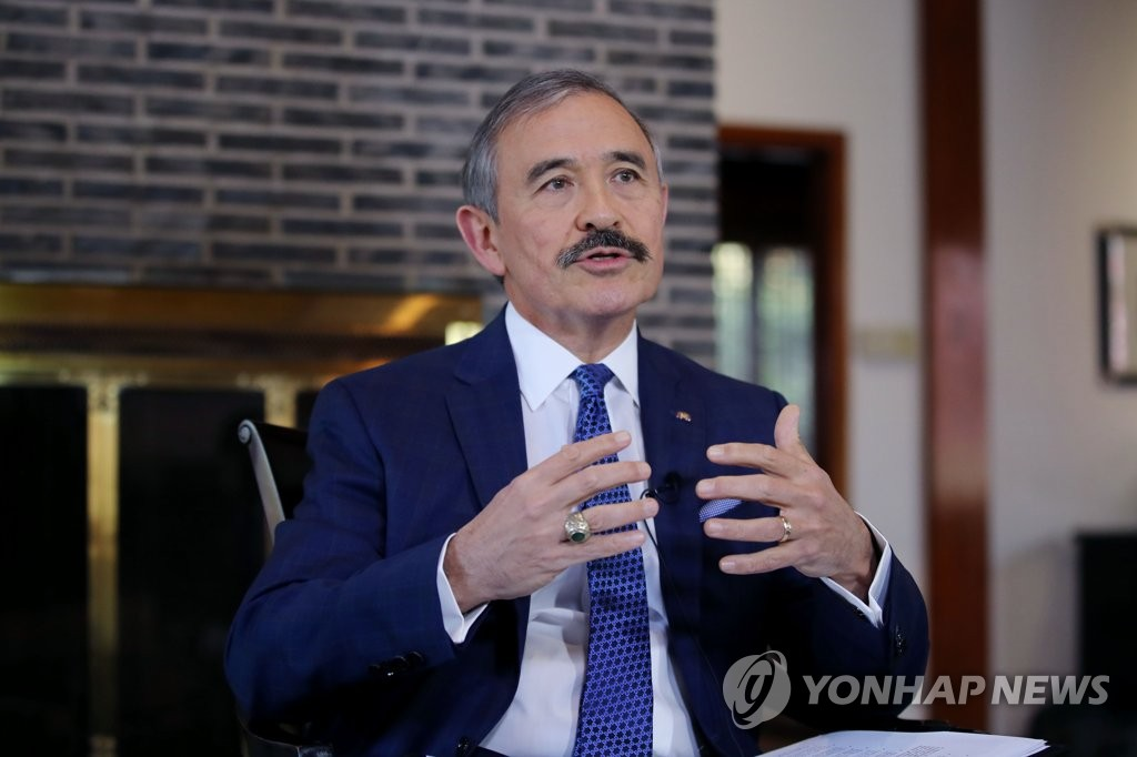 This file photo, taken Nov. 19, 2019, shows U.S. Ambassador to South Korea Harry Harris speaking during an interview with Yonhap News Agency at his residential compound in Seoul. (Yonhap)