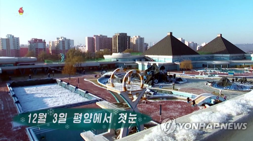 First snow in Pyongyang