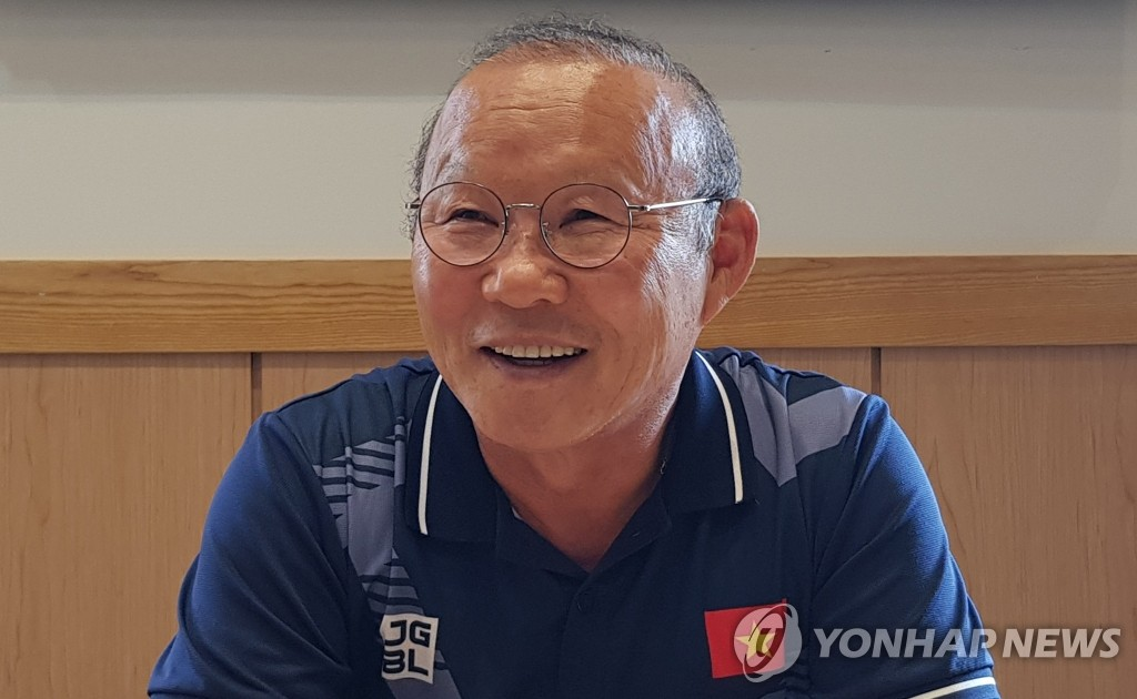 Park Hang-seo, the South Korean-born head coach for the Vietnamese men's national football teams, speaks in an interview with Yonhap News Agency in Hanoi on Dec. 12, 2019. (Yonhap)