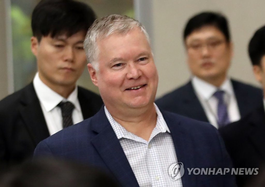 U.S. Special Representative for North Korea Stephen Biegun arrives at Incheon International Airport, west of Seoul, on Dec. 15, 2019, for a three-day visit to South Korea. (Yonhap)
