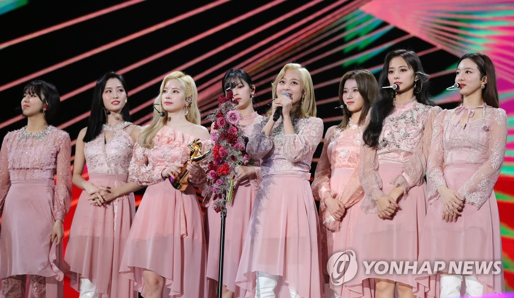 This photo provided by the secretariat of the Golden Disk Awards shows K-pop girl group TWICE at the 34th Golden Disk Awards held at Gocheok Sky Dome in southwestern Seoul on Jan. 4, 2020. (PHOTO NOT FOR SALE) (Yonhap)