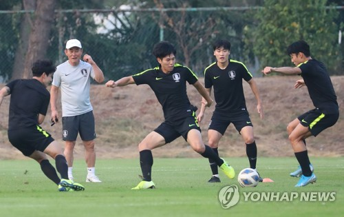U-23 footballers in training