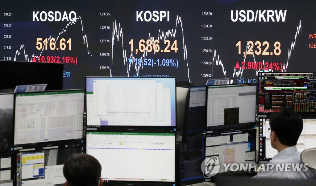 This photo taken on March 26, 2020, shows a dealing room at KB Kookmin Bank in Seoul. (Yonhap)