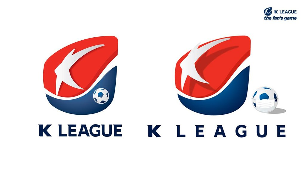 This image provided by the Korea Professional Football League on April 7, 2020, shows the league's emblem promoting the use of masks and social distancing to prevent the spread of the coronavirus. (PHOTO NOT FOR SALE) (Yonhap)
