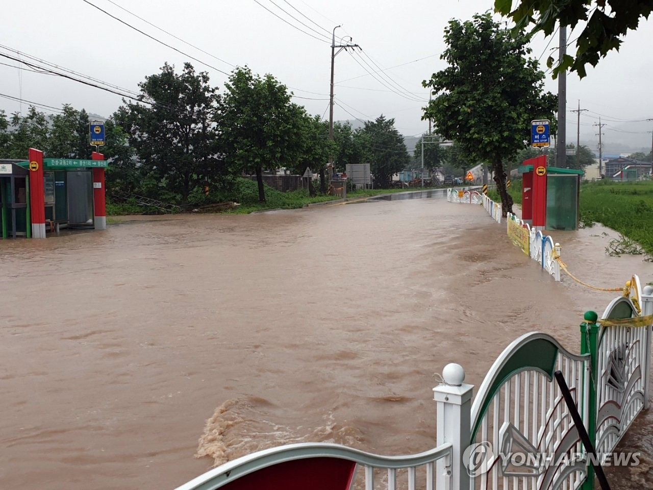 This photo, provided by the Goseong county office in Gangwon Province on Aug. 5, 2020, shows a road that flooded after heavy rain. (PHOTO NOT FOR SALE) (Yonhap)