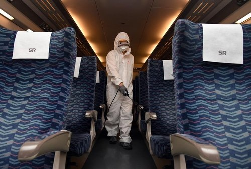 Disinfection work under way inside train