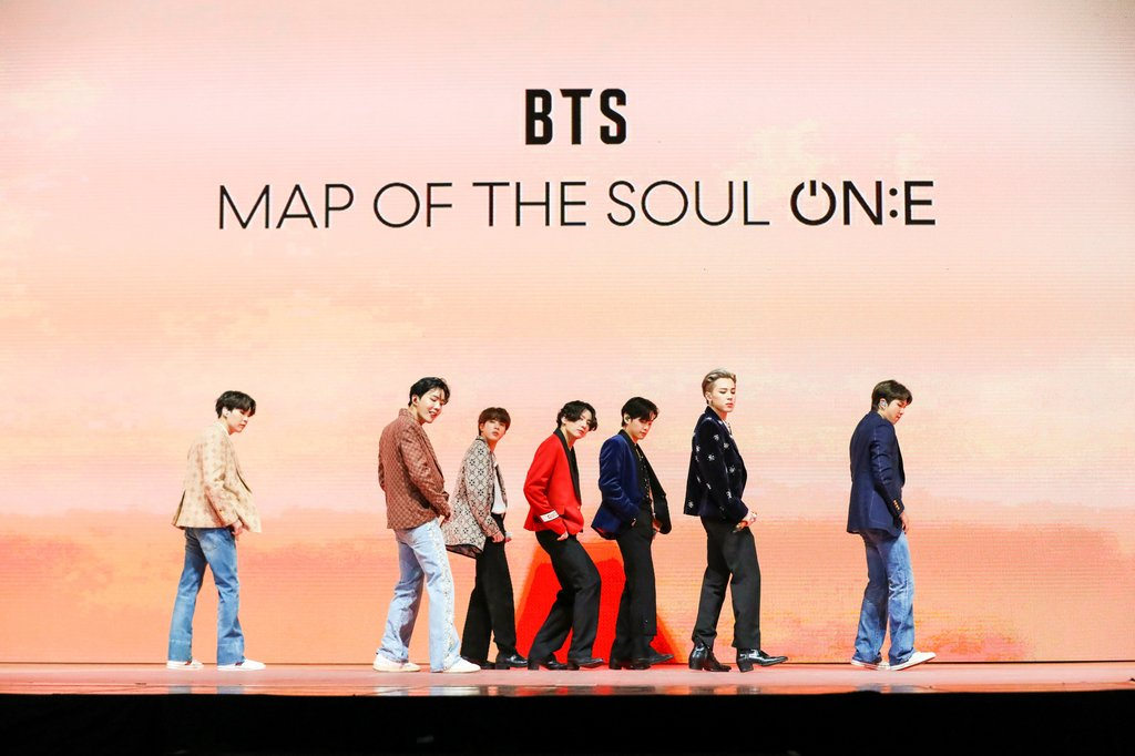 This photo, provided by Big Hit Entertainment, shows BTS during an online concert in Seoul on Oct. 10, 2020. (PHOTO NOT FOR SALE) (Yonhap)