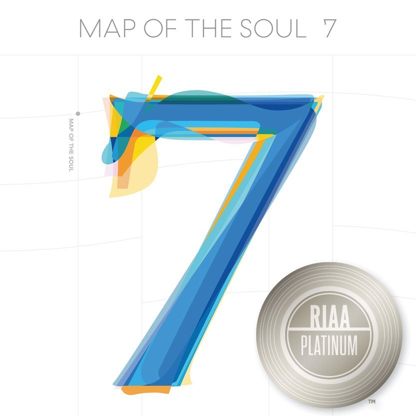 "This image, provided by the Recording Industry Association of America (RIAA), shows the cover of BTS' 2020 hit album ""Map of the Soul: 7"" with RIAA's platinum certification mark on it. (PHOTO NOT FOR SALE) (Yonhap)"
