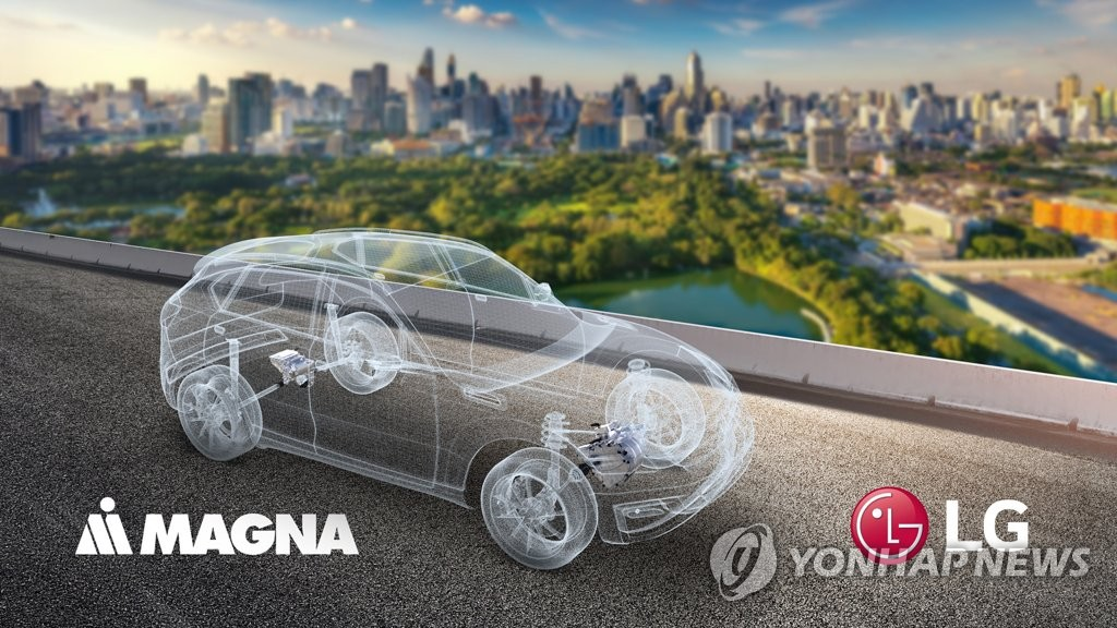 This image provided by LG Electronics Inc. on Dec. 23, 2020, shows a concept for a future vehicle using parts from LG and Magna International Inc. The two sides agreed to set up a joint venture to make auto parts, including e-motors and inverters. (PHOTO NOT FOR SALE) (Yonhap)
