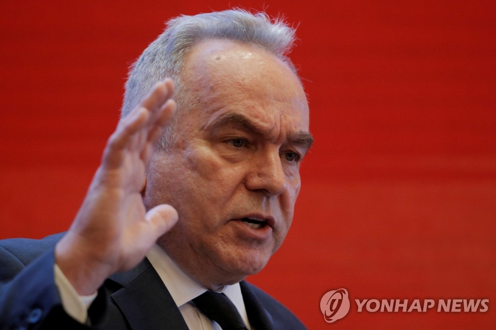This photo, released by Reuters on March 23, 2019, shows Kurt Campbell, former assistant secretary of state, speaking at a forum in Beijing. (Yonhap)