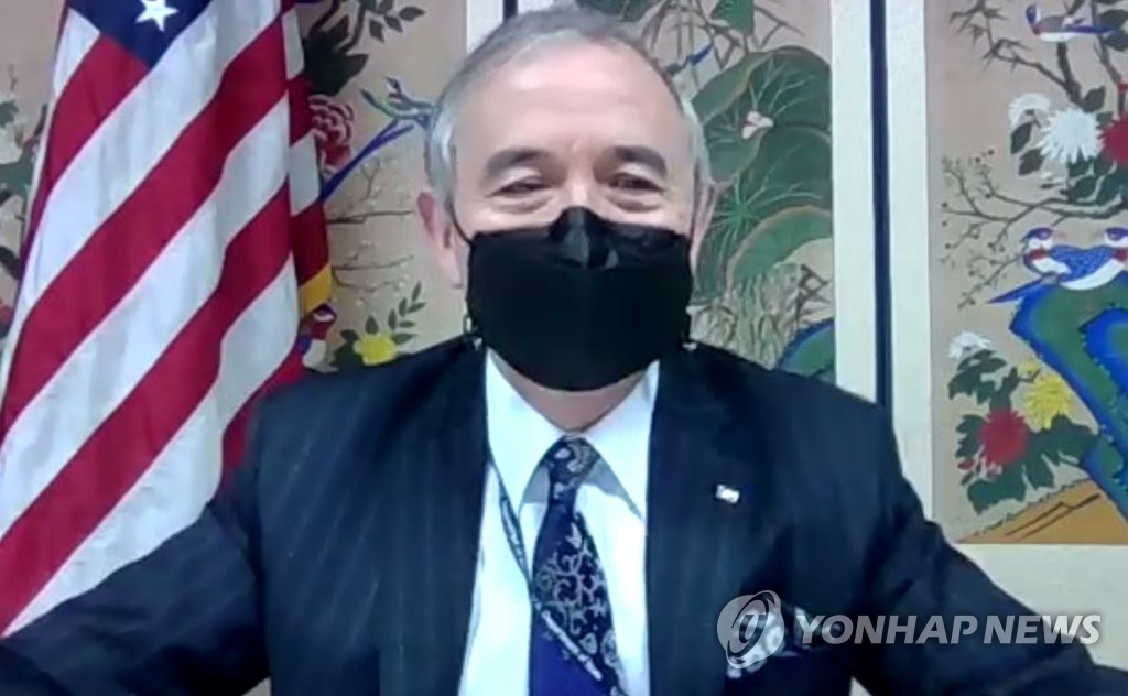 This image captured from a Zoom meeting on Jan. 19, 2021, shows outgoing U.S. Ambassador to South Korea Harry Harris. (PHOTO NOT FOR SALE) (Yonhap)