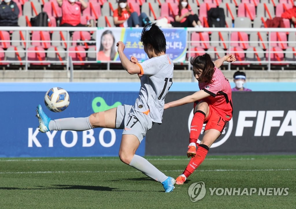 Kang Chae-rim of South Korea (R) takes a shot past Luo Guiping of China during the teams' Olympic women's football qualifying match at Goyang Stadium in Goyang, Gyeonggi Province, on April 8, 2021. (Yonhap)