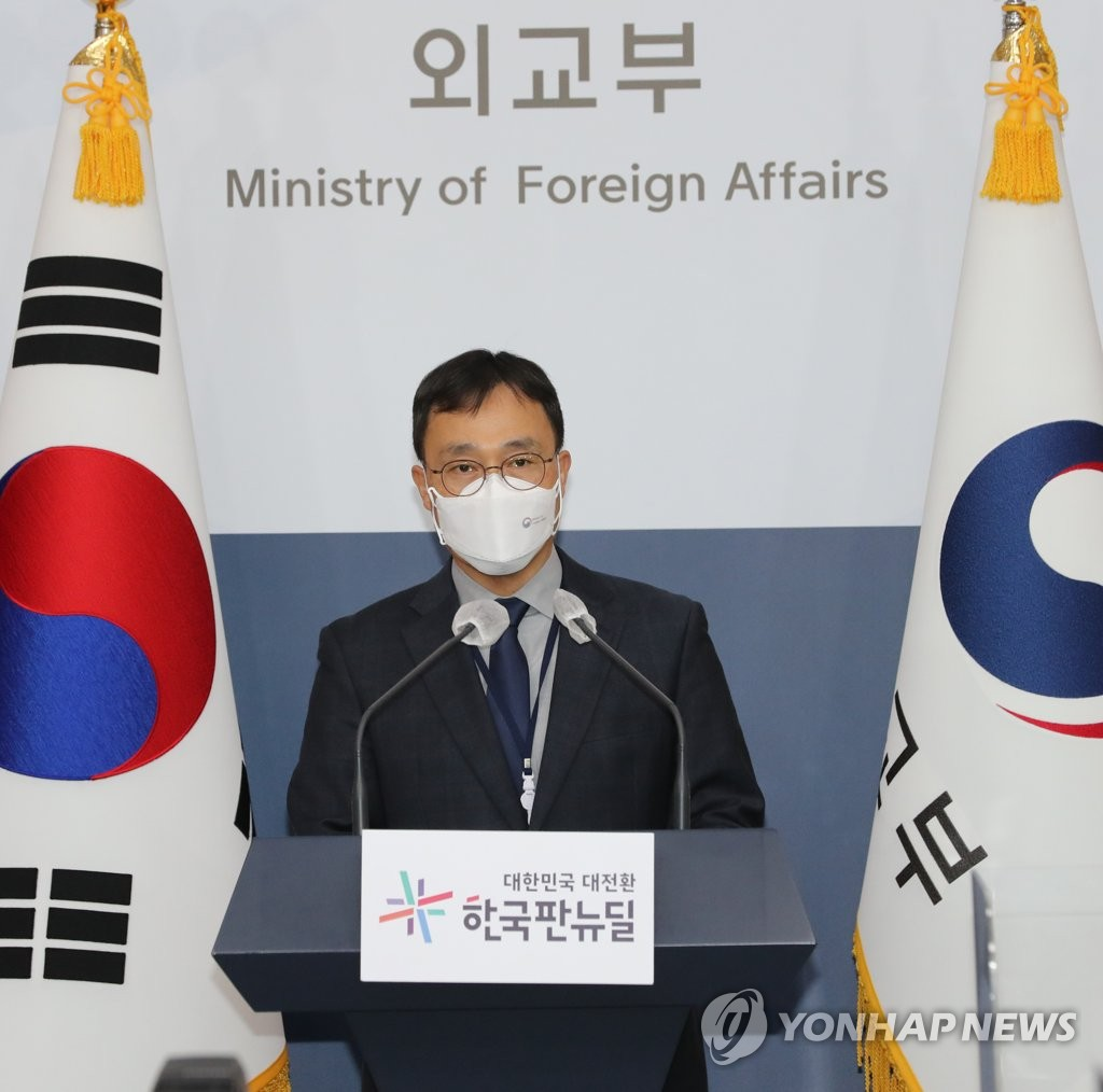 New Foreign Ministry spokesman Choi Young-sam speaks during a press conference at the government complex in Seoul on April 13, 2021, to express strong regret over the Japanese government's decision to discharge water containing radioactive materials stored at the now-crippled Fukushima nuclear power plant in Japan. (Yonhap)