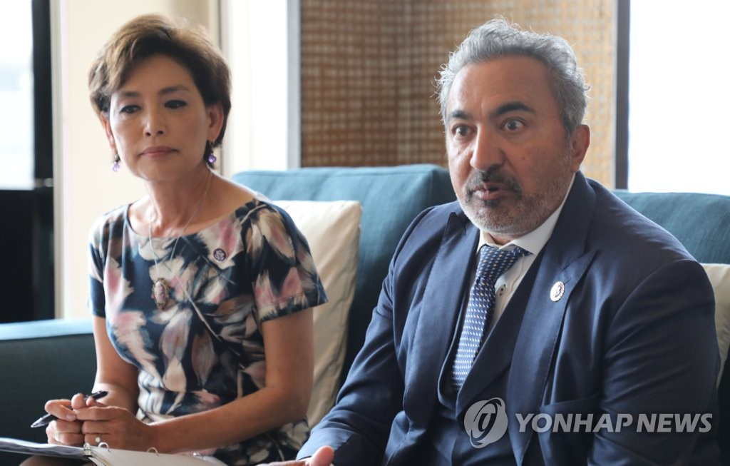 Reps. Young Kim (R-CA) and Ami Bera (D-CA), both members of the Congressional Study Group on Korea (CSGK), speak during a press briefing in Seoul on July 7, 2021. (Yonhap)