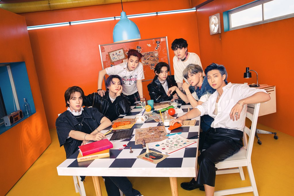 This photo, provided by Big Hit Music, shows South Korean superband BTS. (PHOTO NOT FOR SALE) (Yonhap)