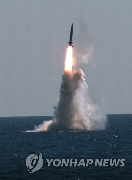 South Korea's indigenous submarine-launched ballistic missile (SLBM) is test-fired from the Navy's 3,000-ton-class Dosan Ahn Chang-ho submarine at the ADD Anheung Test Center in South Chungcheong Province on Sept. 15, 2021, in this photo provided by the Ministry of National Defense. (PHOTO NOT FOR SALE) (Yonhap)
